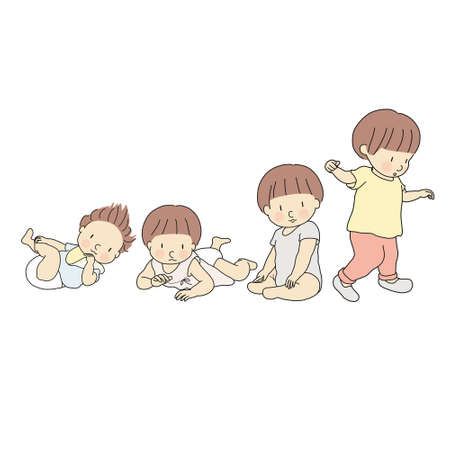 Vector illustration of baby growth stage in first year. Set of lying, rolling over, crawling, sitting, walking. 1 year child development milestone, newborn, infant, toddler. Cartoon character drawing.