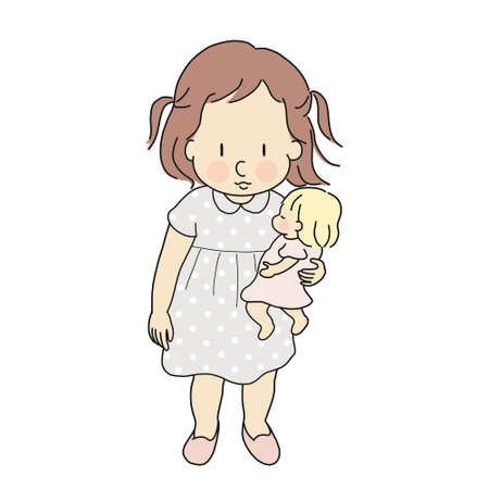 Vector illustration of little kid girl playing baby doll. Happy children day, child playing concept. Cartoon character drawing.