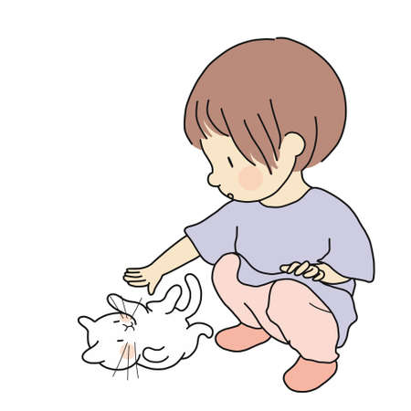 Vector illustration of little kid playing with lovely kitten. Curious kid touching little cat. Happy children day, child playing, pet concept. Cartoon character drawing.