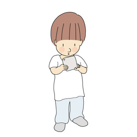 Vector illustration of little kid playing smartphone or tablet. Media addiction problem, digital generation, technology concept. Cartoon character drawing.