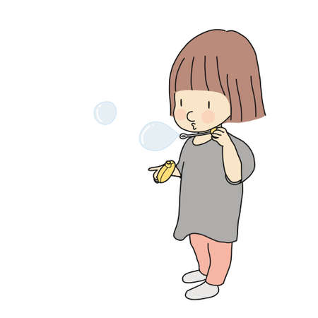 Vector illustration of happy kid holding the blower and blowing soap bubble. Child playing activity, early childhood development, happy children day concept. Cartoon character drawing.