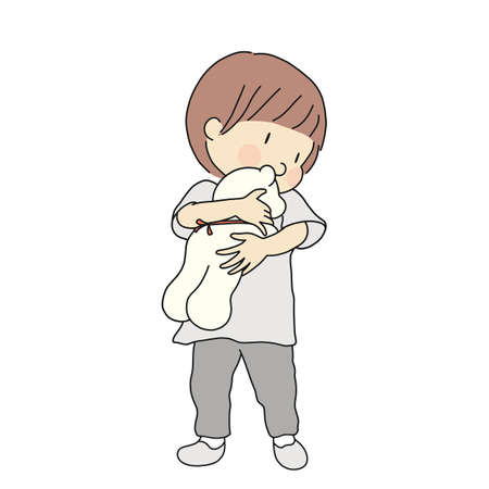 Vector illustration of little kid holding and hugging teddy bear doll. Early childhood development, child playing, happy children day concept. Cartoon character drawing.