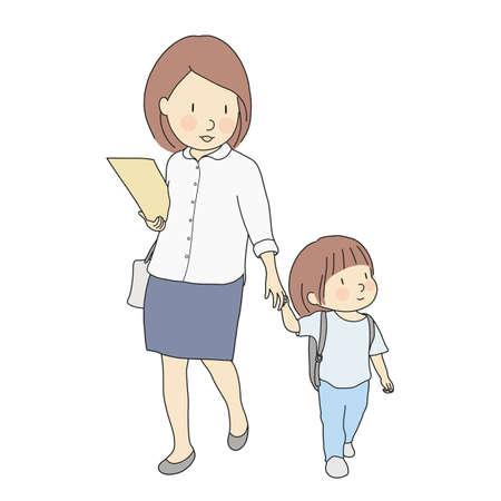 Illustrazione vettoriale di bambini piccoli che trasportano zaino scuola andare a scuola a piedi con la madre. Sviluppo della prima infanzia, primo giorno di scuola, educazione, concetto di famiglia. Stile di disegno del personaggio dei cartoni animati. Vettoriali