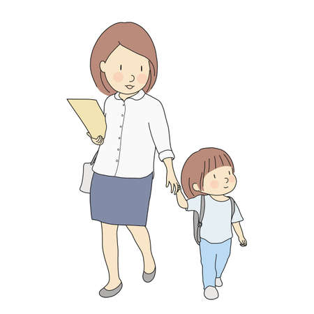 Vectorillustratie van kleine kinderen met school rugzak lopen naar school met moeder. Ontwikkeling van de vroege kinderjaren, eerste schooldag, onderwijs, gezinsconcept. Cartoon karakter tekenstijl. Vector Illustratie
