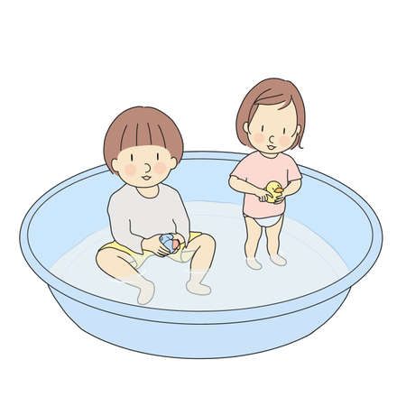 Vector illustration of brother and sister playing in inflatable swimming pool. Early childhood development activity, child playing, family, happy children day concept. Cartoon character drawing. Çizim