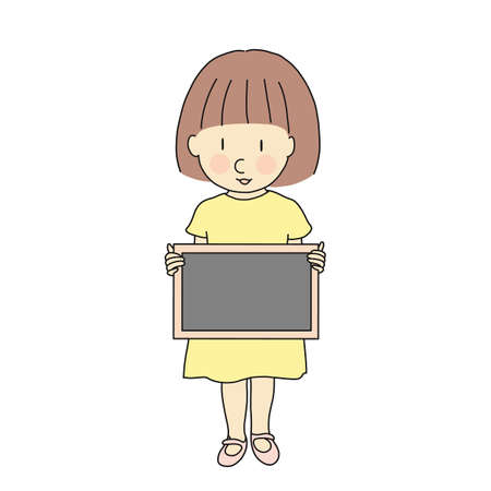 Vector illustration of little girl with blank blackboard for presentation, brochure and banner. Kid brochure. Childhood education and development concept. Cartoon character drawing.