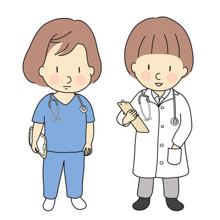 Vector illustration of kid professions, doctor and nurse. What I want to be when grow up. Children occupations costume. Childhood development, education & learning concept. Cartoon character drawing.