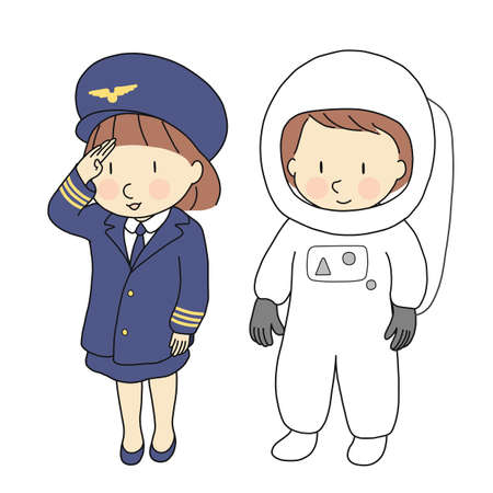 Vector illustration of kid professions, airline pilot & astronaut. What I want to be when grow up. Children occupations costume. Childhood development, education concept. Cartoon character drawing.