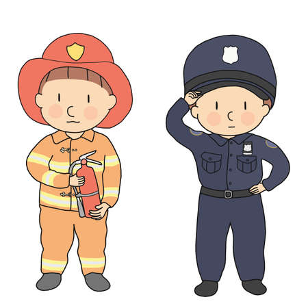 Vector illustration of city professions, firefighter & policeman. What I want to be when grow up. Children occupation costume. Childhood development, education, kid concept. Cartoon character drawing.