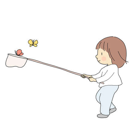 Vector illustration of kid catching colorful butterflies. Summer activity, outdoor play, happy children day, early childhood development, education & learning concept. Cartoon character drawing.