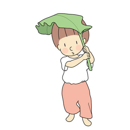 Vector illustration of little kid using banana leaf as umbrella. Child playing, early childhood development, education & learning, imagination concept. Cartoon character drawing. Illustration