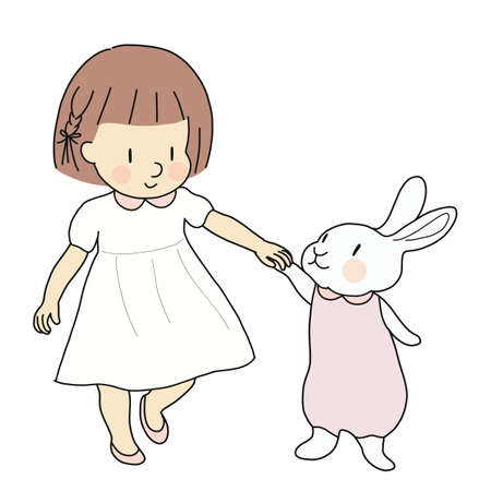 Vector illustration of little kid girl and rabbit holding hands & walking together. Happy easter & children day, holiday greeting card, pet, friendship, imagination concept. Cartoon character drawing. Çizim