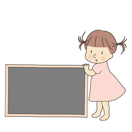 Vector illustration of little kid with blank chalkboard for presentation, brochure and banner. Child education and learning, background concept. Cartoon character drawing.
