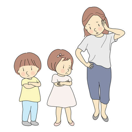 Parent dealing with siblings fighting. Mother handling child conflict. Mommy angry and yelling at her kids. Family, relationship problem, siblings & friends rivalry concept. Cartoon character drawing.