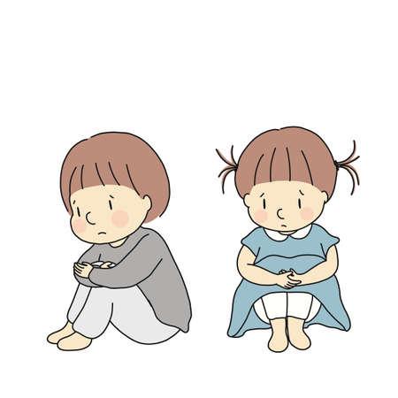 Ilustración de vector de niños pequeños abrazándose de rodillas, sintiéndose tristes y ansiosos. Concepto de problema de emoción infantil. Dibujo de personaje de dibujos animados.