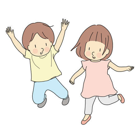 Vector illustration of two kids jumping together. Early childhood development, happy children day card, child playing, family, brother & sister, friends, friendship concept. Cartoon character drawing. Stock Vector - 107037551