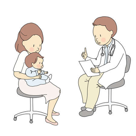 Vector illustration of doctor sitting on chair stool and talking to mother and baby. Children medical, pediatrician, childcare, healthcare, mother and child concept. Cartoon character drawing.