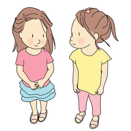 Vector illustration of two kids standing and smiling together. Early childhood development, happy children day, best friend, friendship concept. Cartoon character drawing.