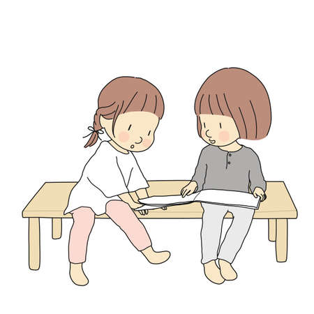Vector illustration of little kids sitting and reading story book together. Early childhood development activity, education and learning, friendship concept. Cartoon character drawing.