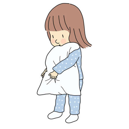 Vector illustration of little sleepy kid girl in pajamas holding pillow. Family, bedtime, early childhood development. Cartoon character drawing.