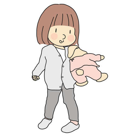 Vector illustration of little kid girl holding and hugging bunny doll. Early childhood development, child playing, happy children day concept. Cartoon character drawing.