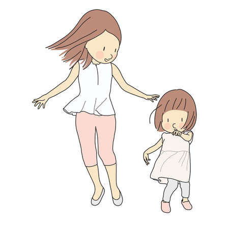 Vector illustration of happy mom and little kid girl. Family, motherhood, child playing, happy mother day, happy children day, greeting card, childhood development concept. Cartoon character drawing. Illustration