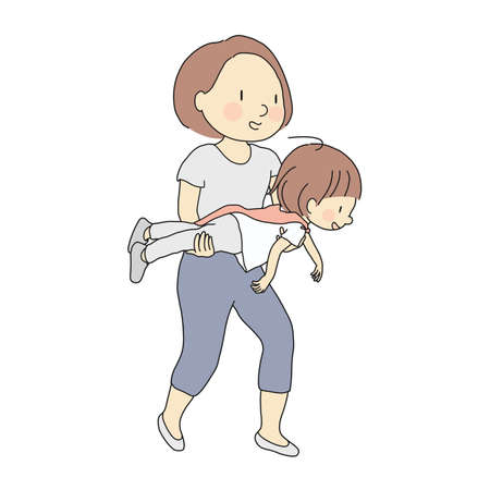 Vector illustration of mom holding kid to fly like superman. Family, motherhood, child playing, happy mother's day, happy children day, early childhood development concept. Cartoon character drawing. Çizim