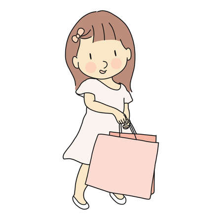 Vector illustration of little cute girl in pink dress carrying shopping bag. Lifestyles concept. Cartoon character drawing.
