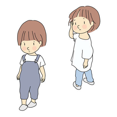 Vector illustration of child conflict. Relationship, siblings & friends rivalry, child emotion problem, sad and anxious concept. Cartoon character drawing.