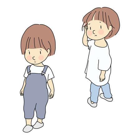 Vectorillustratie van kindconflict. Relatie, rivaliteit tussen broers en zussen en vrienden, kindemotieprobleem, verdrietig en angstig concept. Cartoon karakter tekening.