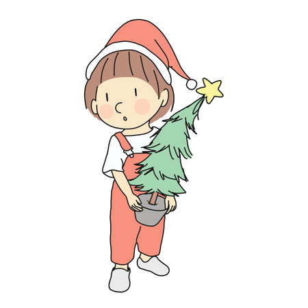 Vector illustration of little kid holding Christmas tree. Family, Happy New Year & Merry Christmas, holiday concept. Cartoon character drawing