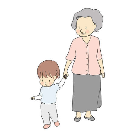 Vector illustration of happy grandmother holding kid hand & walking together. Early childhood development, family, generation, grandparent, elderly concept. Cartoon character drawing. Illustration