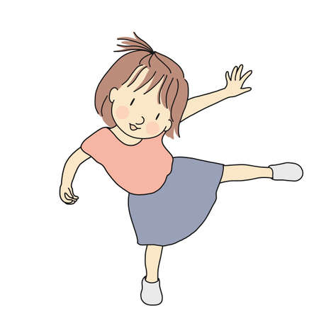 Vector illustration of little playful kid girl standing on one leg. Early childhood development, happy children day card, child playing concept. Cartoon character drawing.