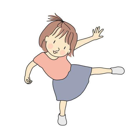 Illustrazione vettoriale di bambina bambino giocoso in piedi su una gamba sola. Sviluppo della prima infanzia, carta di giorno dei bambini felici, concetto di gioco del bambino. Disegno del personaggio dei cartoni animati.