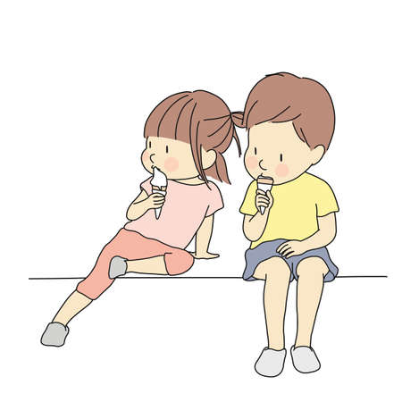 Vector illustration of little kids eating ice cream. Early childhood development concept, happy summer day. Cartoon character drawing.