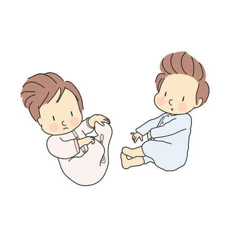 Vector illustration of little Infants laying. Newborn, baby, Cartoon character drawing.