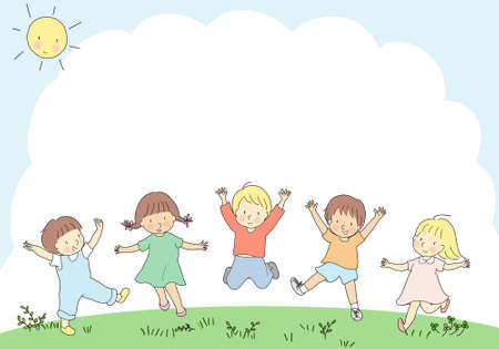 Happy kids jumping together. Children day, child playing, friends, friendship, park, playground, summer, camp, holiday, outdoor. Template, background, brochure, advertising. Cartoon character drawing. Imagens - 132916200
