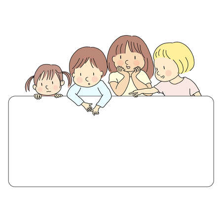 Vector illustration of four little kids, boy & girls, pointing and looking at  blank template for presentation, brochure or banner. Education and learning concept. Cartoon character drawing style. Çizim