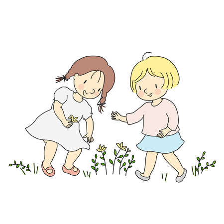 Vector illustration of little happy kid girls picking yellow flowers. Child playing and fun outdoor activities concept. Cartoon character drawing.