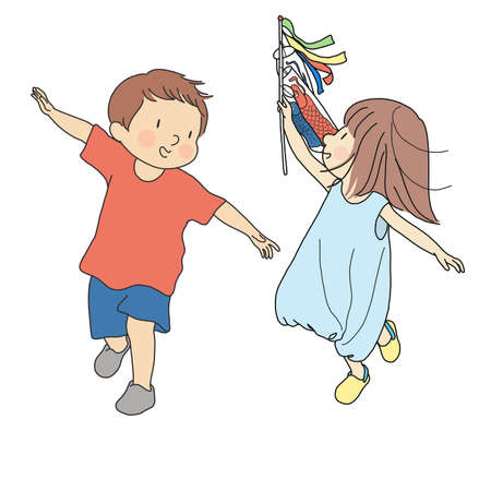 Boy and girl flying colorful carp streamers in the wind to celebrate Japanese Children's day. Cartoon character drawing.