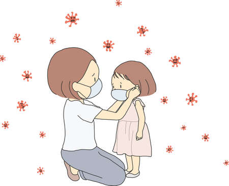 Vector illustration of family, mother and child wearing face mask during corona virus (covid-19) outbreak. Virus protection concept. Cartoon character drawing. Stok Fotoğraf - 142997514