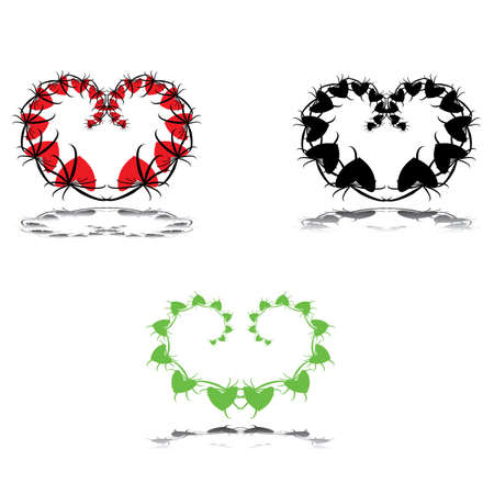 valentine heart leafs vector eps8 graphic Stock Vector - 10732753