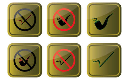 not permitted: smoking allowednot allowed signs on gold background vector eps10 graphic