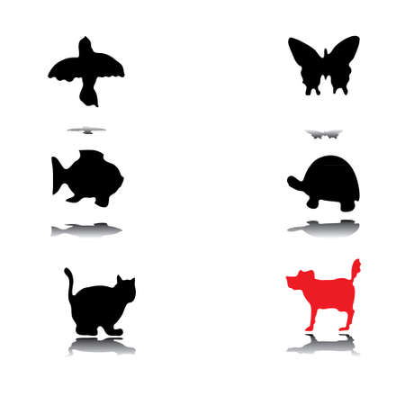 Different animal silhouettes vector eps8 graphic Vector