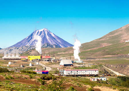 Geothermal power station near a volcano photo