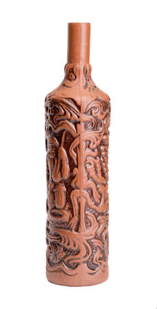 corked: Brown wine bottle from clay