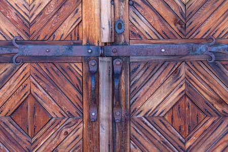door bolt: wooden door with bolt on Kamchatka Stock Photo