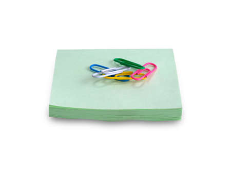 paper clips: paper clips on paper records Stock Photo