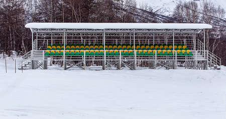 tribune: tribune of a winter stadium in Kamchatka Stock Photo