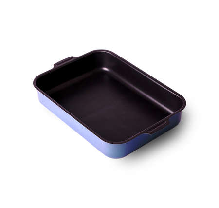 panful: old baking tray covered with a lid on a white background Stock Photo